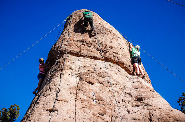 Girls Rock Climbing Teamwork Challenge